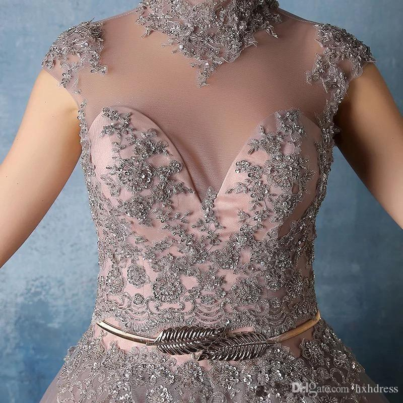2019 New High Neck Quinceanera Vestidos de Renda Apliques com Cristal Frisado vestido de Baile Doce 16 Vestidos de Baile Vestidos De Quinceanera