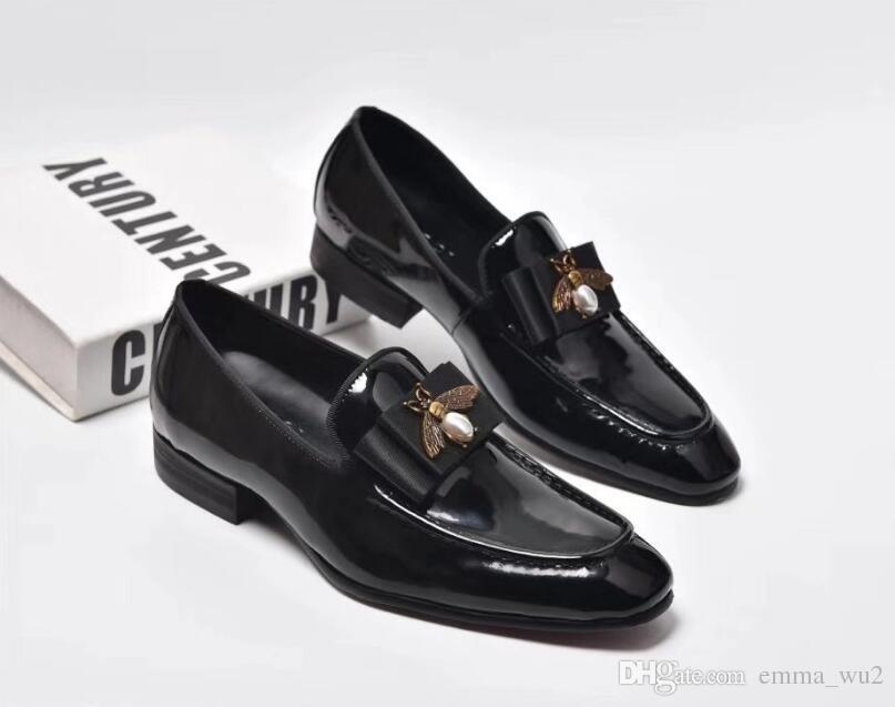 Cuoio genuino fatto a mano con cravatta a farfalla uomo Matrimonio nero vestito scarpe da uomo banchetto mocassini grande formato