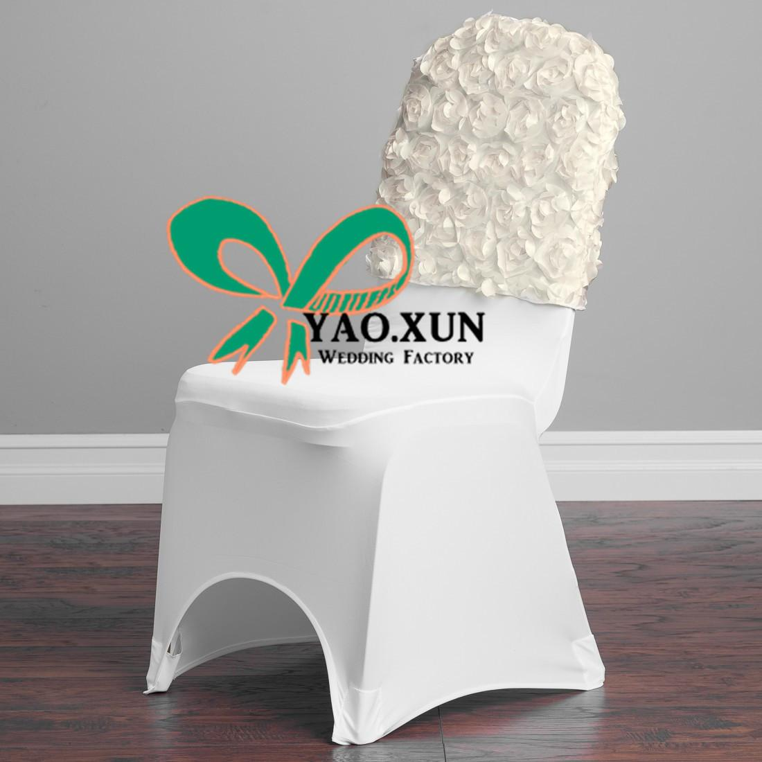 satin rosette chair cap used for banquet spandex chair cover
