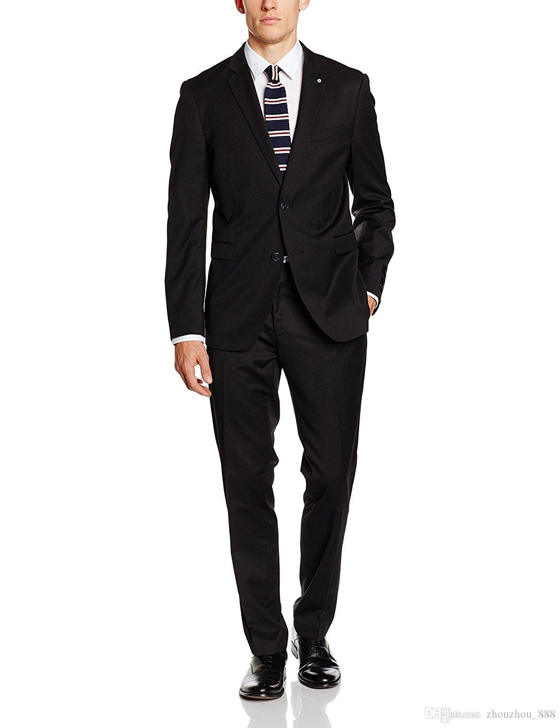 Classic black suit of the groom's best man wedding dress shawl collar crime two buttons gentleman dinner party wear coat + pants + vest