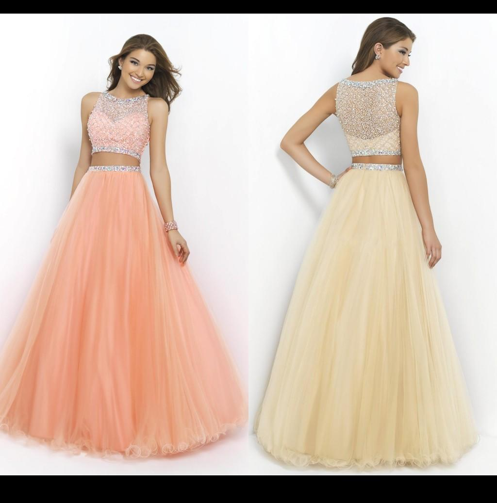 Peach Coral Pink Sassy Two Piece Prom Dresses 2015 Crew Heavily ...