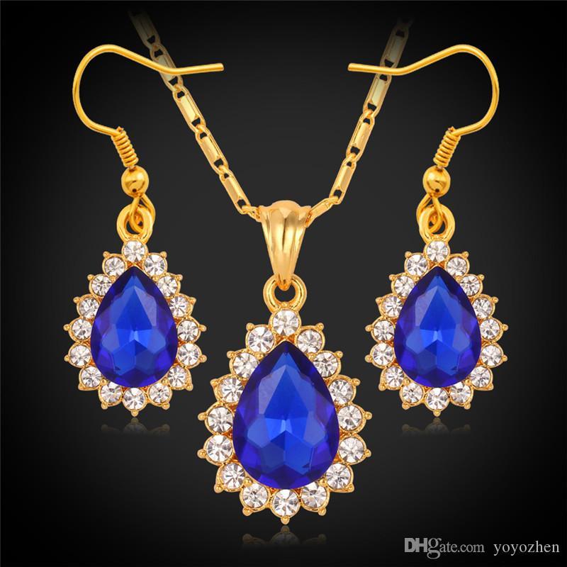 Weihnachtsgeschenk Neue Artikel Swa Strass Rubin Kristall Anhänger Ohrringe Schmuck Sets 18 Karat Real Gold Plated Schmuck für Frauen S745