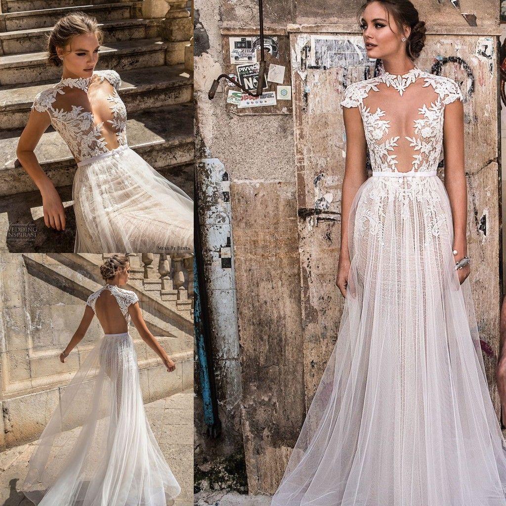 242fc1224a Discount Berta A Line Wedding Dresses 2018 Lace High Neck Short Sleeves  Beach Bridal Gowns Sexy Sheer Backless Tulle Custom Made Vestido De Novia  Wedding ...