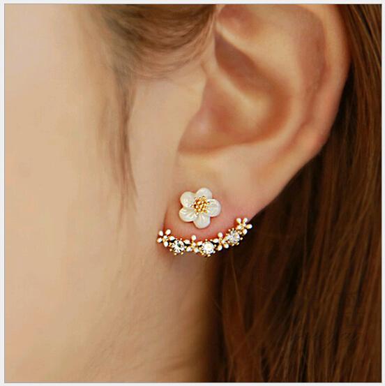 Yüksek kalite Anti alerjik Saf gümüş takı s 925 Ayar gümüş papatya çiçek ön ve arka iki taraflı damızlık küpe Kulak tırnak Korece