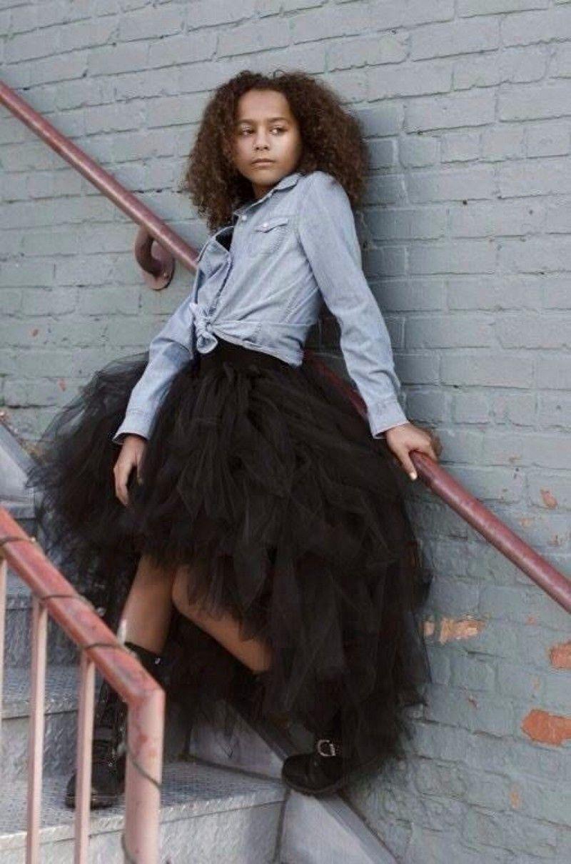 Tutú negro Tulle faldas de cintura baja Capas Primavera verano Ropa formal Vestido de fiesta del desfile de niñas Ready to Wear Falda de mujer Vestido de cóctel