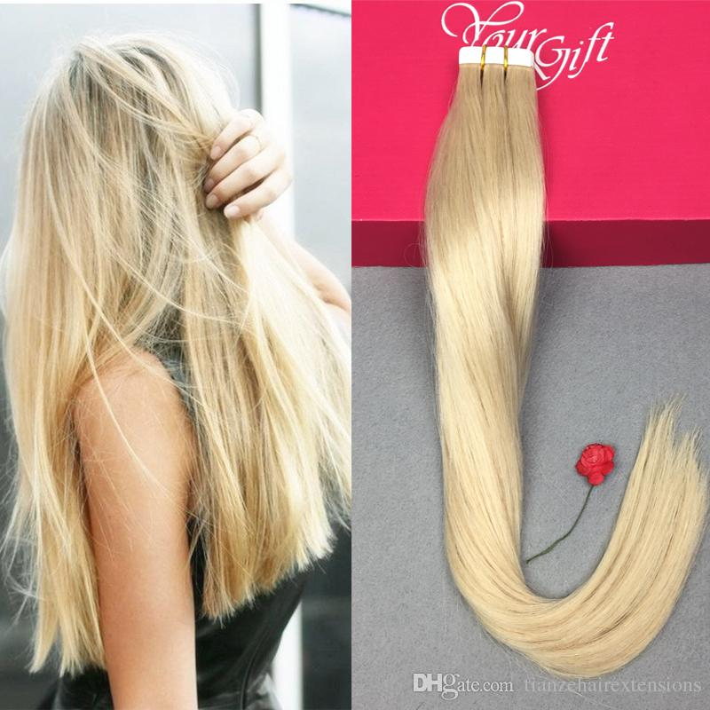 Pu Skin Weft Tape Hair Extensions Straight Invisible Remy Human Hair