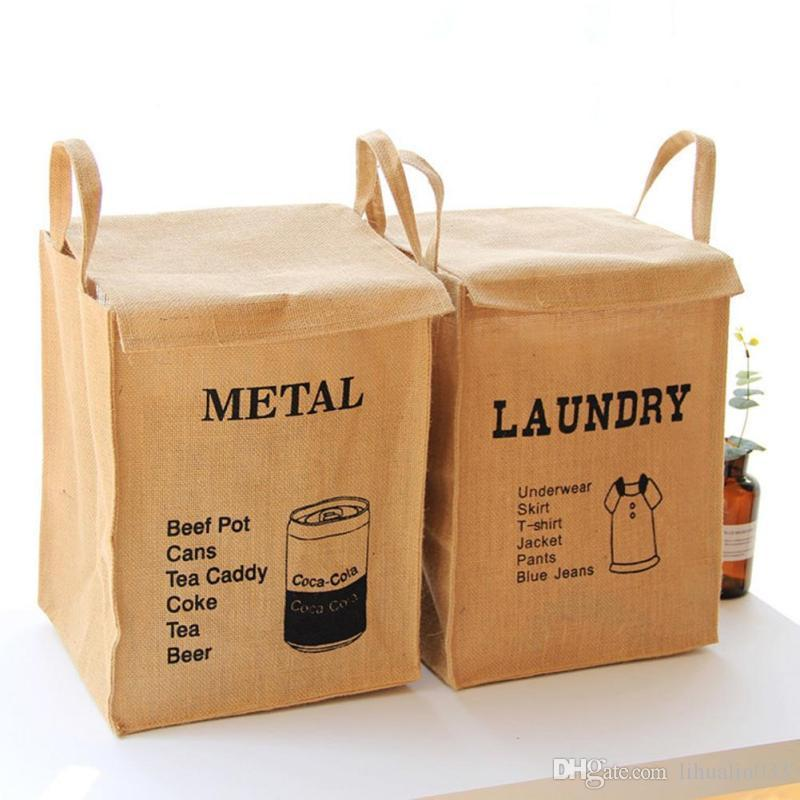 Wholesale Cotton Linen Dirty Clothes Storage Bucket Square Jute Debris Collection Basket Home Organization