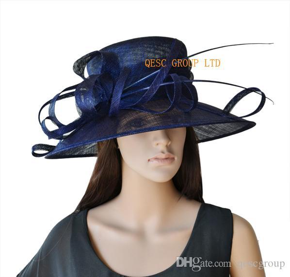 Bred brim marinblå blå klänning kyrka sinamay hatt med struts ryggrad för kentucky derby, bröllop, fest, ascot