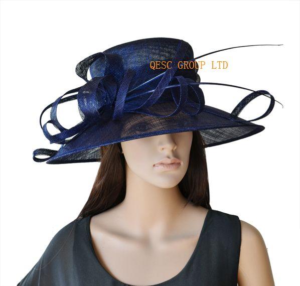 Wide Rand Navy Blue Dress Church Sinamay Hut mit Strauß Rücken für Kentucky Derby, Hochzeit, Party, Ascot