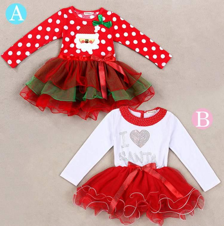 2018 Christmas Dress Claus I Love Santa Dress Cute Bowknot