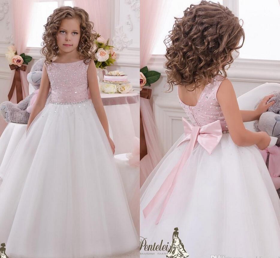 Shiny Flower Girls Dress Sash Crystals Tulle Ball Gown Flower Girl