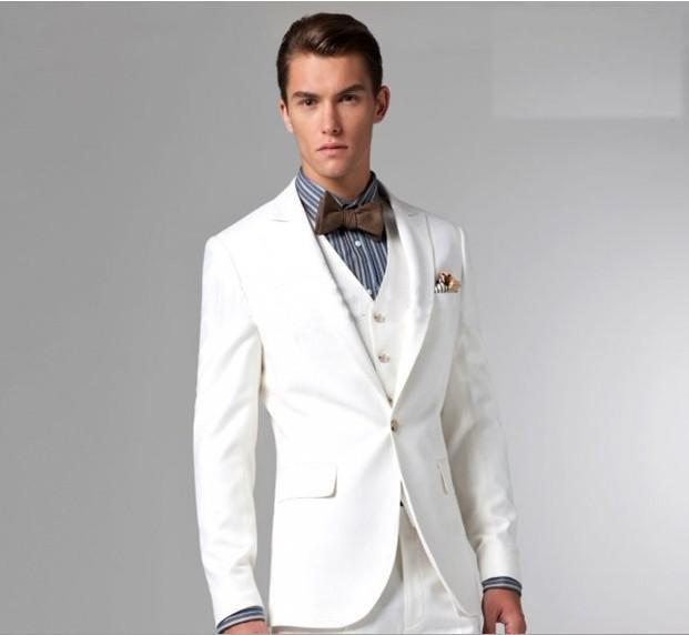 New Three Pieces Slim Fit Nice White Men\'S Wedding Suits Wedding ...
