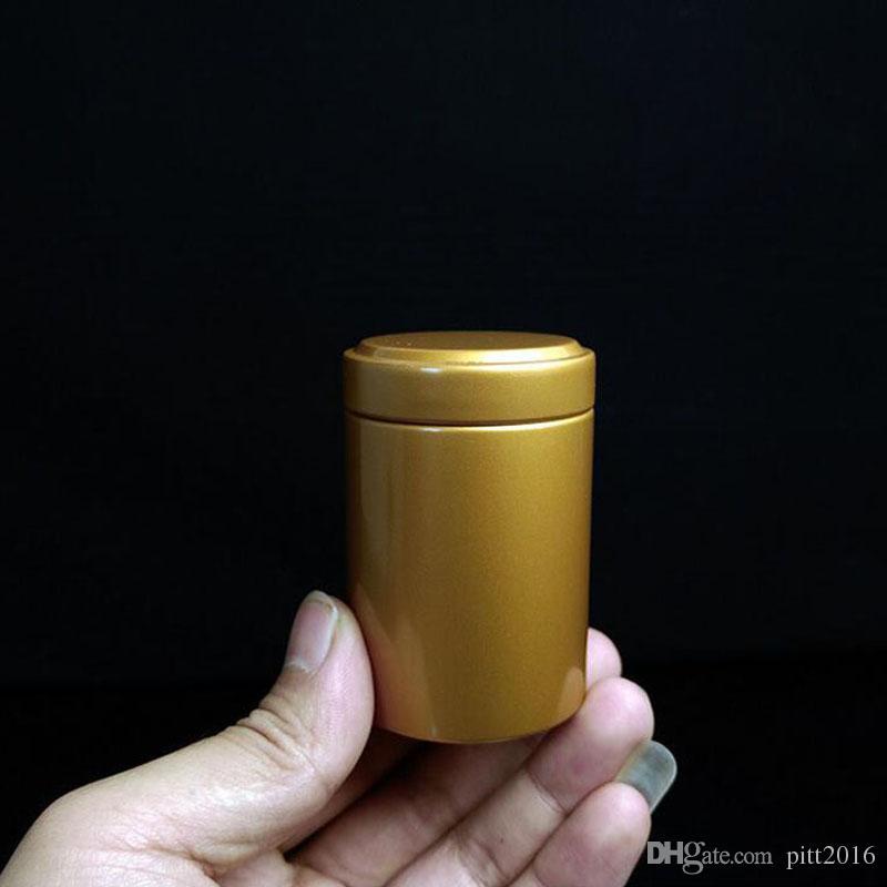 45 * 67mm Rodada Coluna Pequena Caixa De Lata De Chá De Metal De Lata De Doces Caixas De Armazenamento De Lábio Bolso Bolso Carry Case Prata Frete Grátis ZA3430