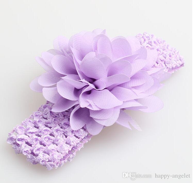-Babykopfbedeckung Kopf Blume Haar-Accessoires 4-Zoll-Chiffon Blume mit weichen, elastischen Häkelarbeitstirnbändern dehnbar Haarband GZ7409