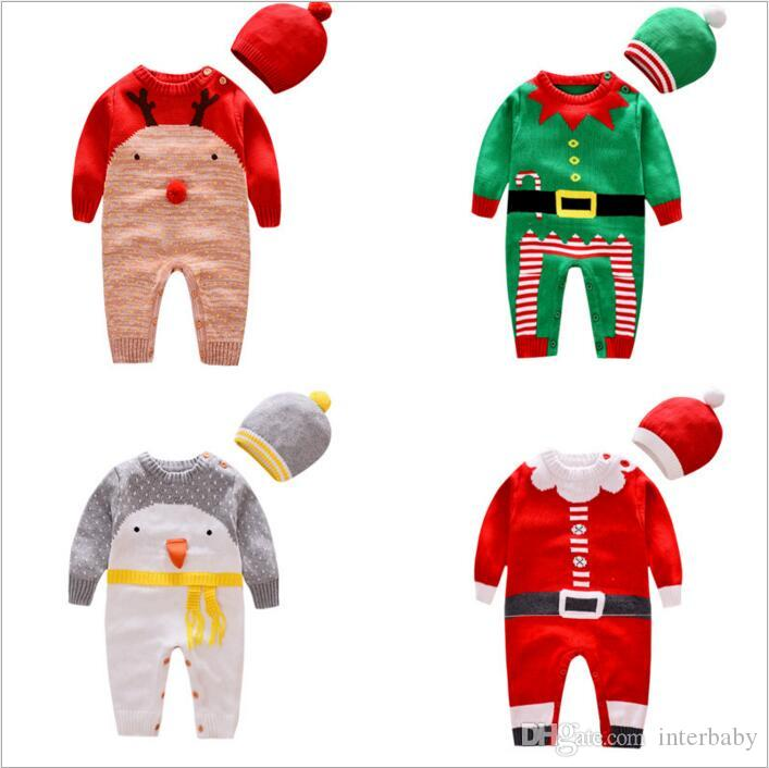 Christmas Baby Clothes Kids Knit Xmas Rompers Hats Suits Crochet Elk Santa Claus Onesies Caps Striped
