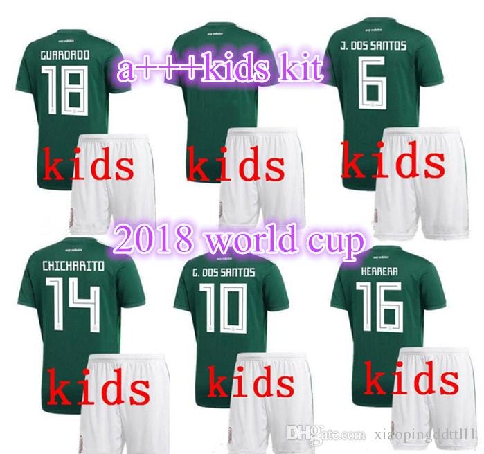 9b1902ee1e1 2019 18 19 Mexico National Team Kids Mexico Kit Soccer Jerseys Uniform Home  Green Kids Set 2018 World Cup G.Dos Santos CHICHARITO Football Shirts From  ...