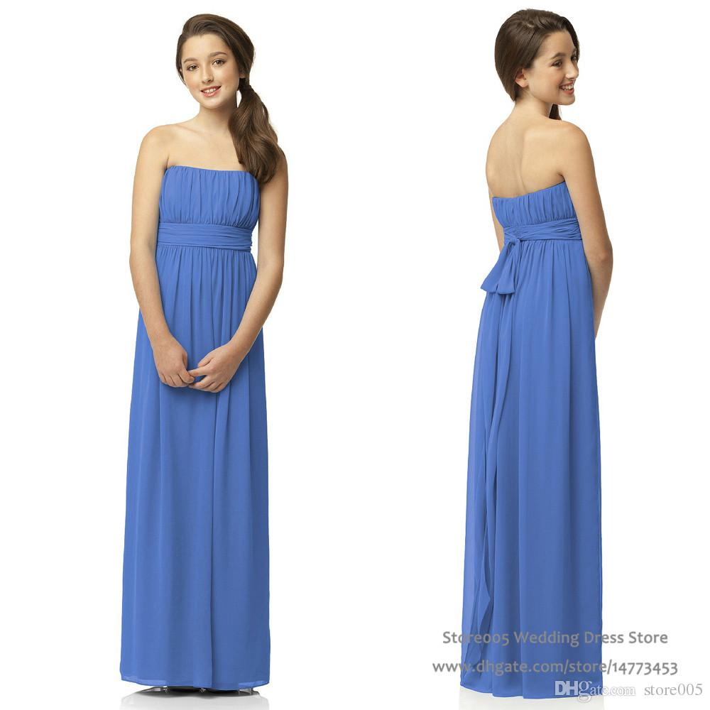 Cute blue junior bridesmaid dresses strapless full length pleat see larger image ombrellifo Images