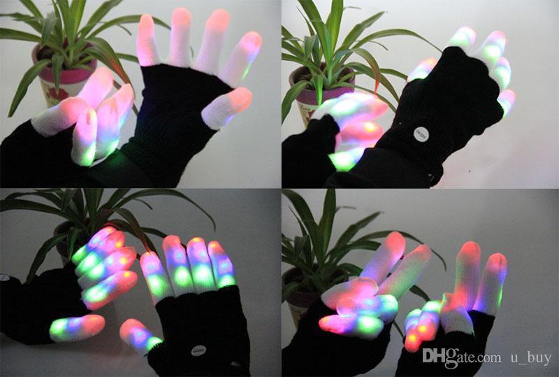 Guanti lampeggianti Finger Guanti LED colorati Guanti Rave i Light Show Flash Mitten Danza luminosa Giocattoli novità