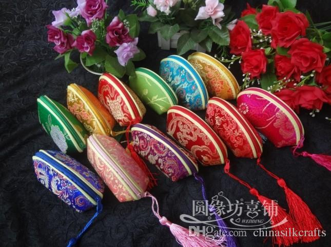 Latest Tassel Small Zipper Wedding Party Candy Favor Boxes Fashion Women Silk Printed Coin Purses /mix Color