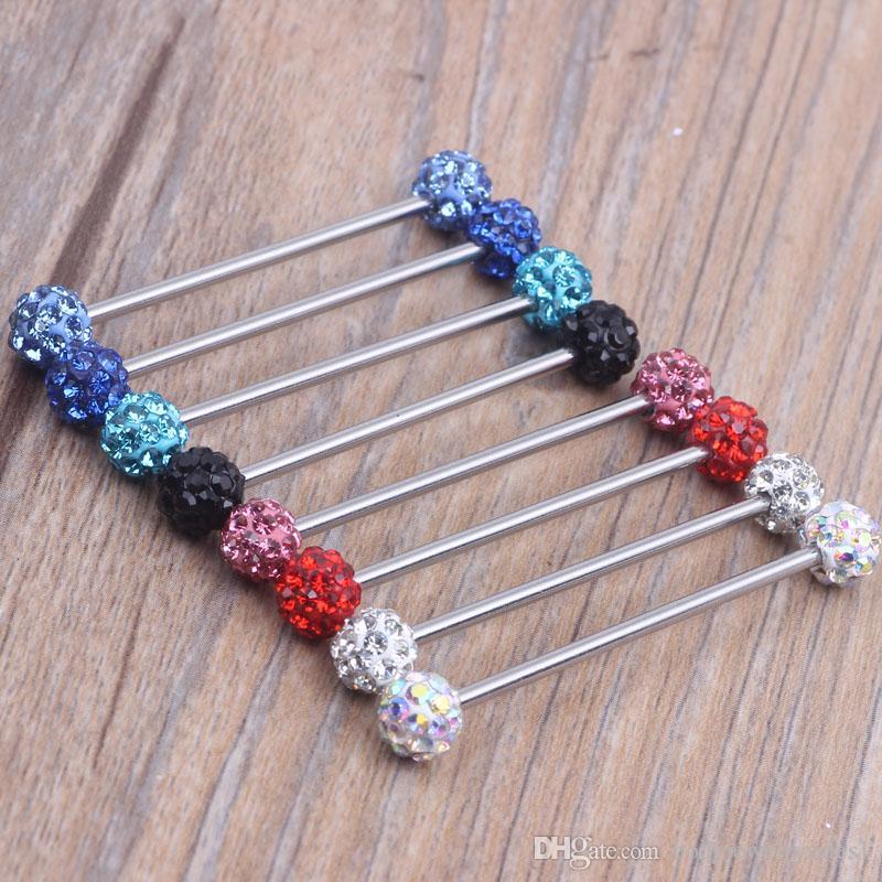 14 Gauge Basic crystal ball cz GEM Industrial Barbell 38mm ear plugs body jewelry