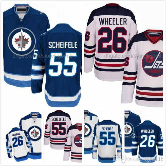 cheap for discount 3041e 7fa67 Mark Scheifele Jersey 55 Blake Wheeler Jersey #26 Mens Winnipeg Jets Hodkey  Jerseys Full Stitched Logo Blue White Size M-3XL Free Shipping