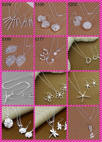 مزيج 12 نمط أزياء المرأة الساحرة الفضة والمجوهرات 925 الفضة أقراط القلائد مجموعة مجوهرات