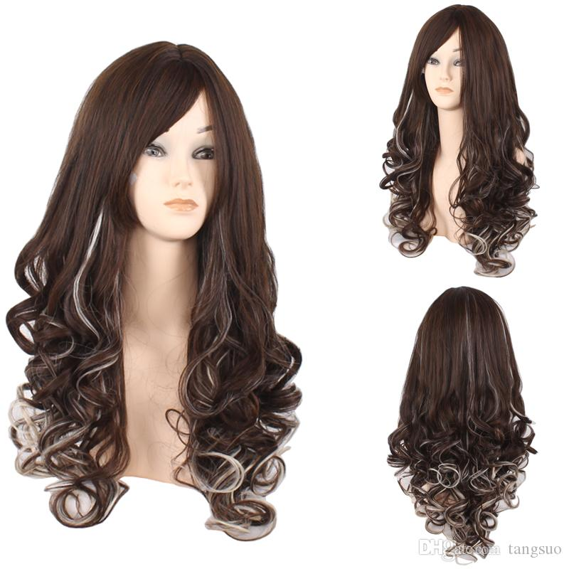 New Brand Women Brown Gray Color Gradient Long Wavy Synthetic Hair Wigs Fashion Ombre Wave Heat Resistant Hair Cosplay Wigs Europe American