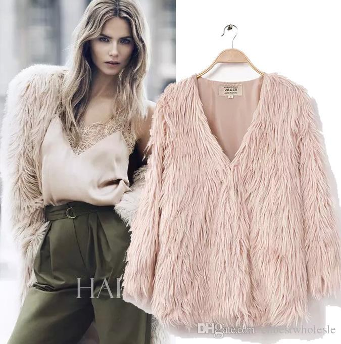 2017 2015 Women'S Faux Fur Jackets Winter Warm Long Sleeve Fluffy ...