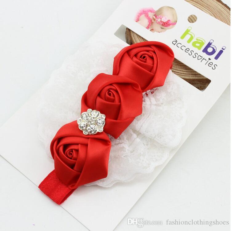 Cute Baby Girls' Flower Bow Hairband Cheap Children's Hair Accessories Rhinestones Satin Rose Flower Baby Girl Headband Hair Accessories