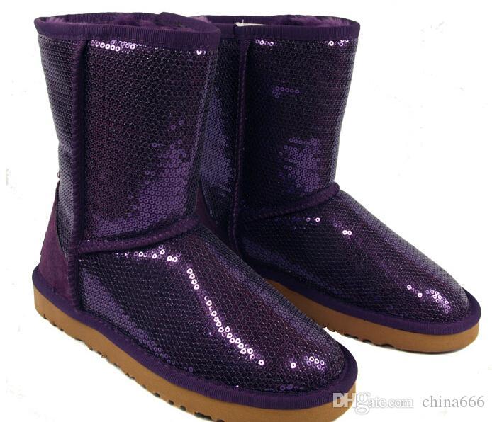 dorp SHIPPING 2014 Nouveau Femmes Mode paillettes paillettes Bottes de neige BOOT Chaussures d'hiver Noir Bleu violet or Argent