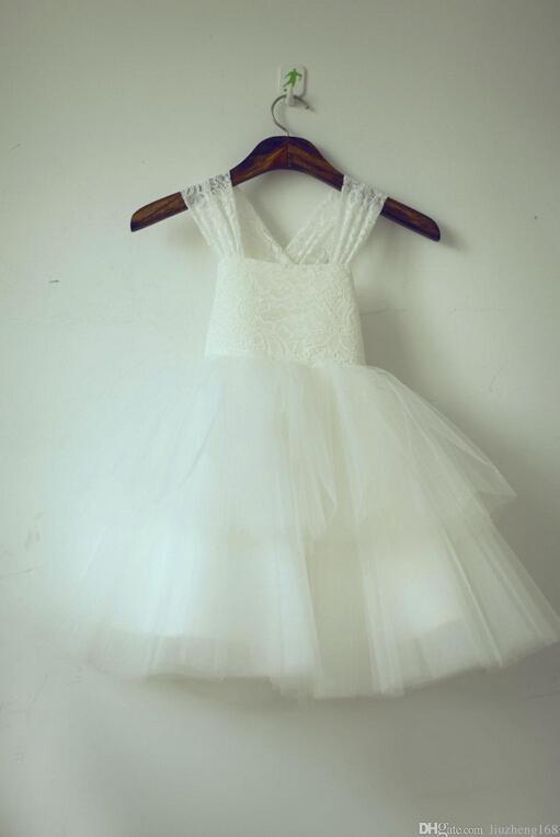 NEW TUTU Lace Bow Tulle Ivory Flower Girl Dress Wedding Easter Junior Girl Dress Baby Cheap Dresses Fashionable Dress Easter Dresses