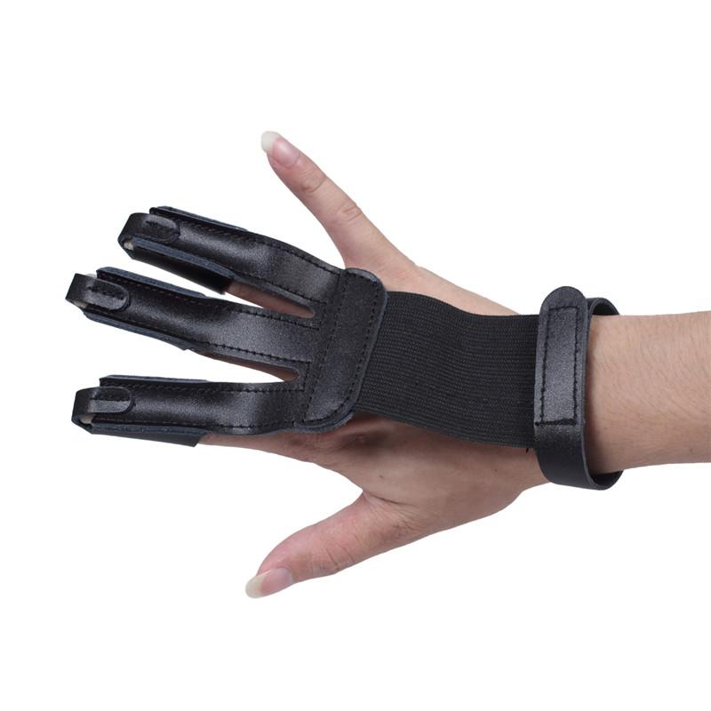 Archery Protector 3 Finger Leather Gloves Shooting Gloves Finger Protector Fits for Hunting Compound Recurve Bow