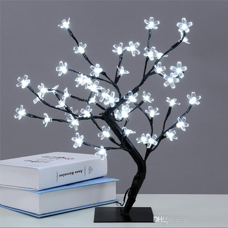 كريستال الكرز إزهار 48LED شجرة ضوء ليلة ضوء الجدول مصباح الفروع السوداء الإضاءة عيد الميلاد حفل زفاف LED الزهور الخفيفة 220V