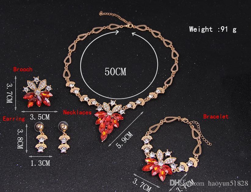 Set di gioielli 18k oro riempito di cristallo austriaco donne collana da sposa braccialetto orecchino anello