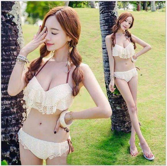 2pcs Set White Lace Crochet Korean Sexy Swimwear Jpg