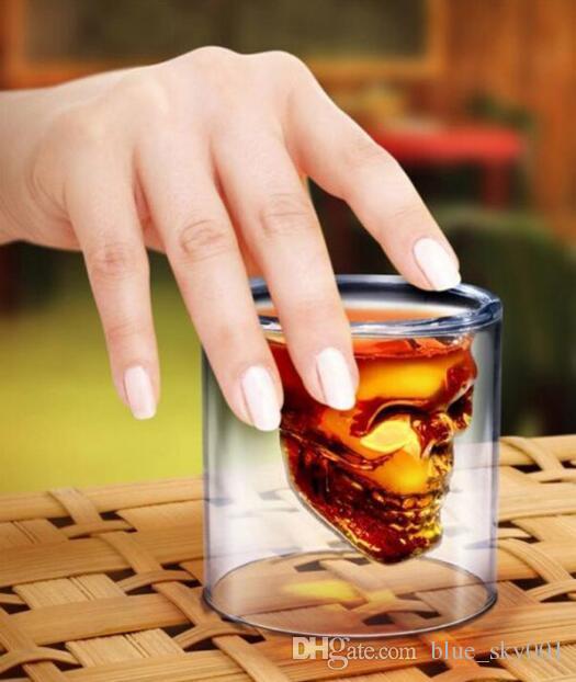 Crânio De Vidro transparente Mágico Canecas Copos De Café Bilayer Bar Vinho Cerveja Drinkware Copos De Chá De Presente 4 Tamanhos Copo De Uísque