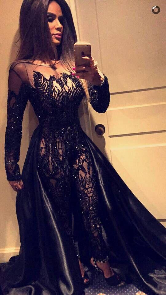 Black Evening Dresses 2016 Sexy Sheer Jumpsuit Crew Neckline Beaded with Long Sleeves and Satin Train