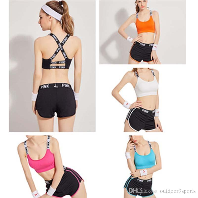 723fafb2b189a 2019 Sports Tracksuit Women Summer Gym Wear Cotton Yoga Suit Fitness Bra  Shorts Gym Top Vest Short Pants Running Underwear Set Yoga Outfits From ...