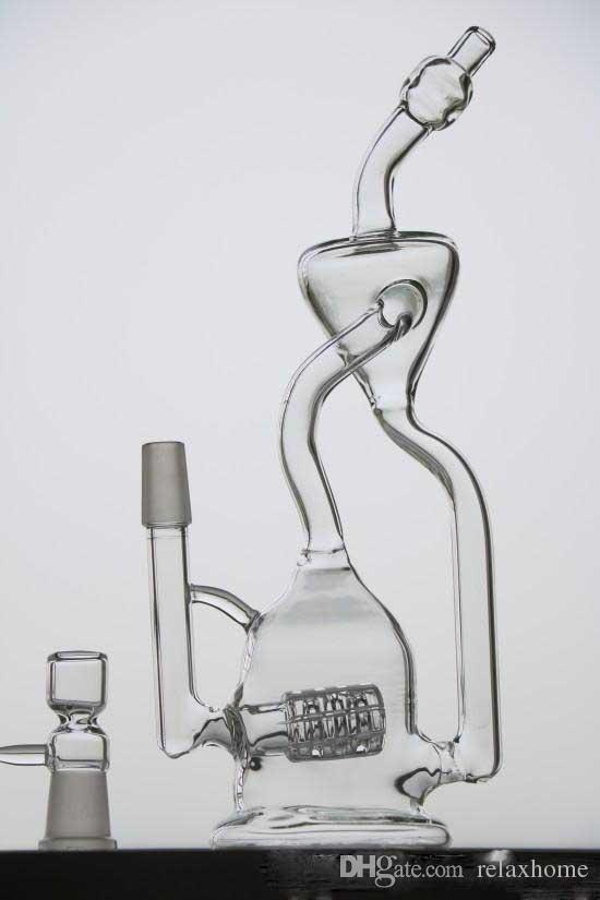 Tire Birdcage Incline Percolators Glass Bongs recycler Pulse Type Recyler Smoking Water Pipes Two Functions Clear Oil Rigs Glass Bong