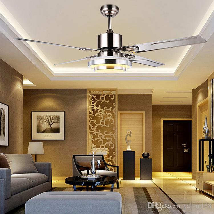 2018 with remote control ceiling fan light minimalist modern living 2018 with remote control ceiling fan light minimalist modern living room dining room super bright led stainless steel leaf from yaling168 4807 dhgate mozeypictures Gallery