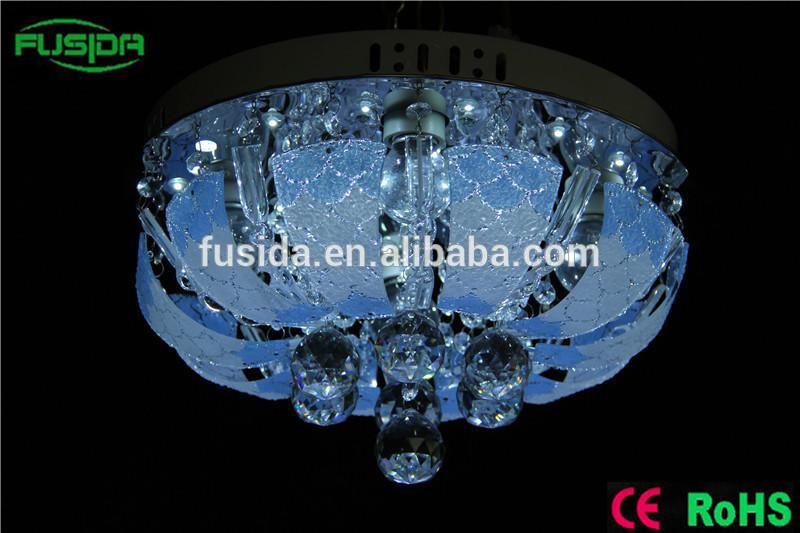 modern led glass crystal ceiling light round led ceiling light with mp3 with ce certificate in zhongshan