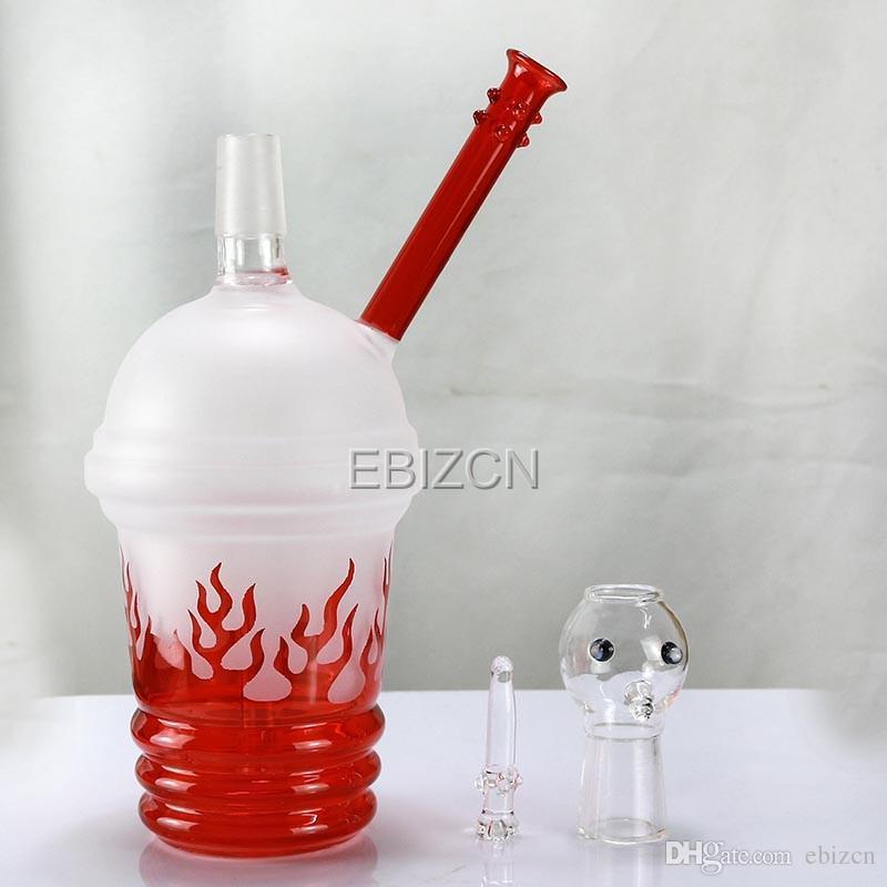 Матовое красное пламя мазок пара нефтяных вышек стекло Dabuccino Бонг стекла водопровод кальяны курительные трубки 18.8 мм купол стекло ногтей