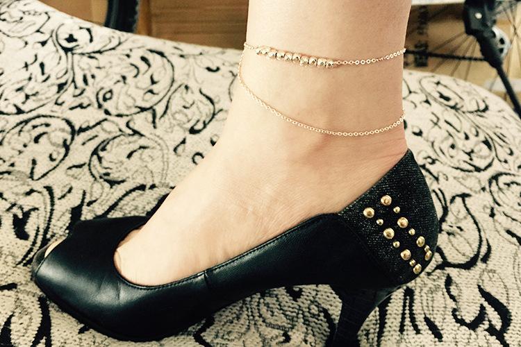 여자 구두 메탈릭 패션 다층 금속 구슬 섹시 앵클 체인 뉴 레이디 우아한 미니멀리즘 조커 발 체인 구두