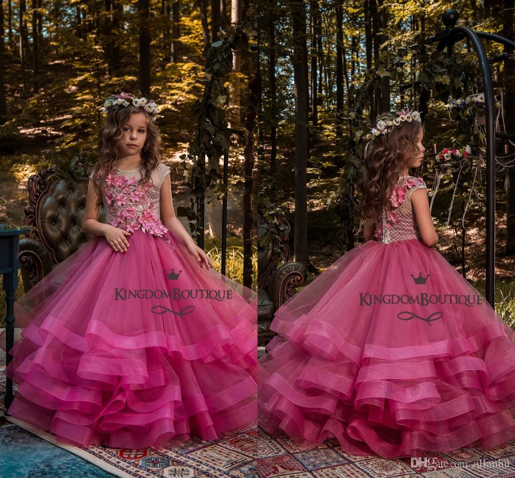 Beautiful New Design Fuchsia Girl's Pageant Dresses Ball Gown Handmade Flowers Flower Girl Dresses for Wedding Tiered Tulle Party Gowns