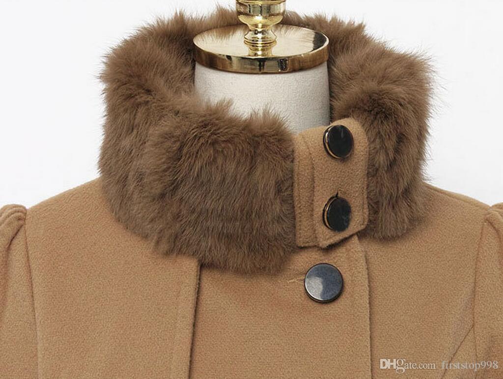 Winter Frauen Lange Wollmantel Kleid Mode Schlank Zweireiher Verdicken Mantel Windjacke jacke Damen Wollmischungen Mantel Mit Gürtel