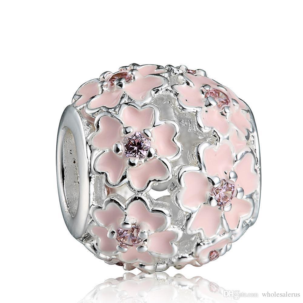 fa453830b ... pandora charms Pink Enamel Flower Zircon Charm 925 Sterling Silver  European Charms Bead Fit Snake Chain Bracelet Fashion ...