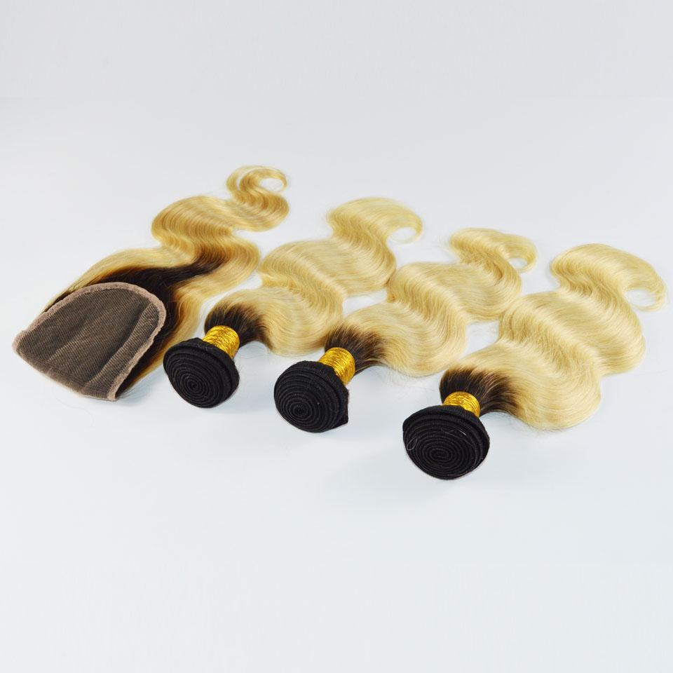 أومبير شقراء البرازيلي العذراء الإنسان الشعر ينسج 1b 613 مع أعلى إغلاق 4 قطعة لحمة الشعر + 1 قطعة الدانتيل إغلاق مع حزم الجسم موجة