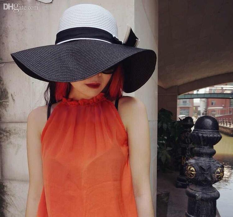 Wholesale-Fashion Straw Sombreros Women Wide Brim Contrast Color ... bdd0f6399aef