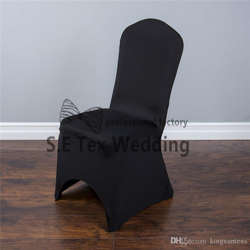 Nice Looking White Color Lycra Spandex Chair Cover Arch Or Flat Front With Strong Pocket High Thick Fabric