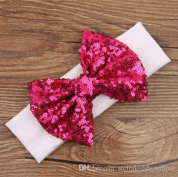 2016 New Posh Girls Headband ,Knit Cotton Girls Heaband ,Baby Hair Accessory With Sequins Big Bow ,Sequins Bow Baby Headwraps